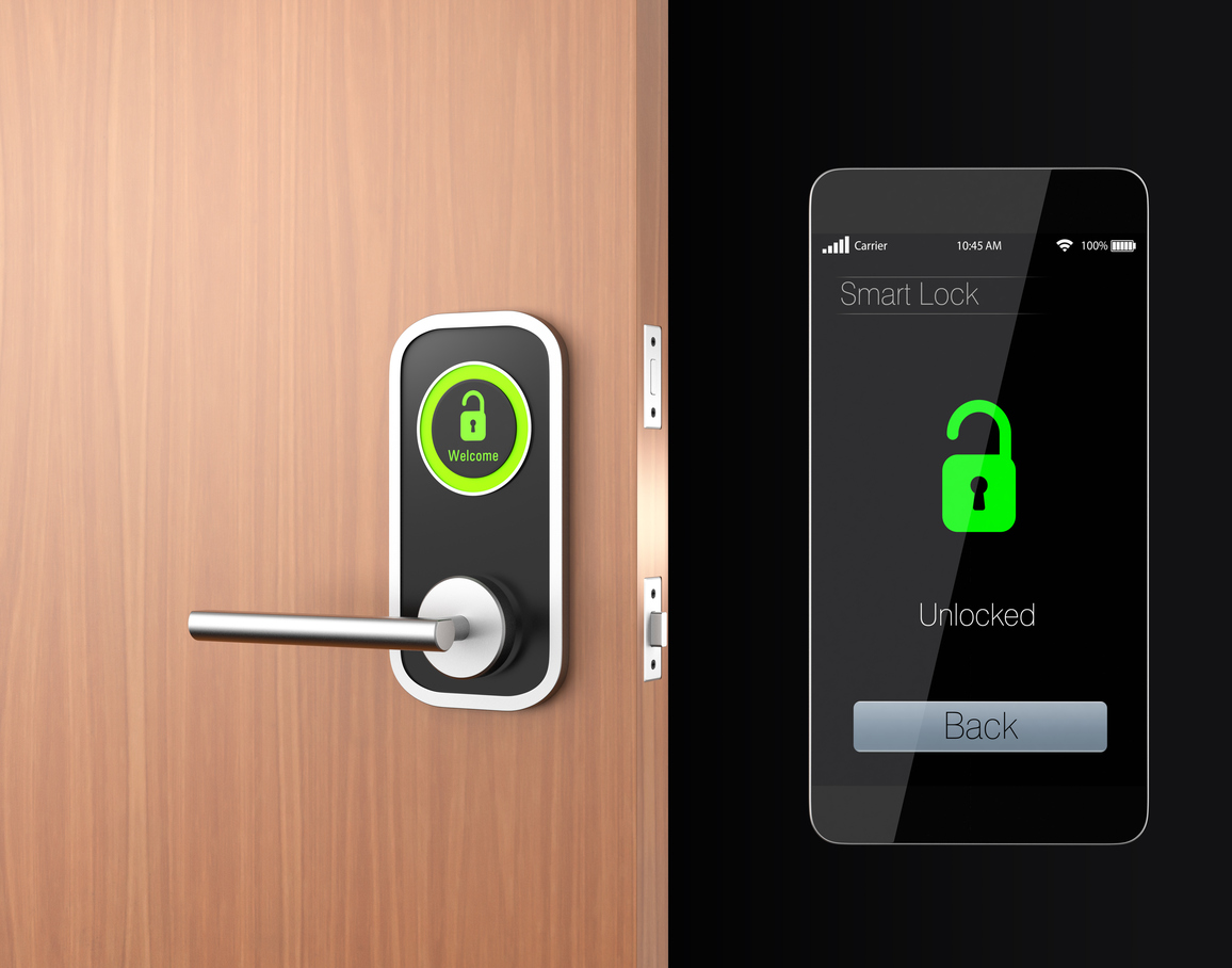 Smart lock concept with clipping path. 3D rendering image in original design.